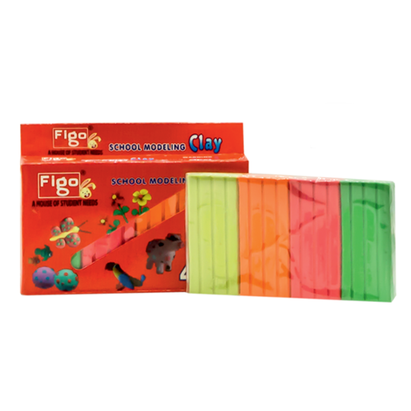 FIGO 4 COLOUR SCHOOL MODELING CLAY (PACK OF  3)